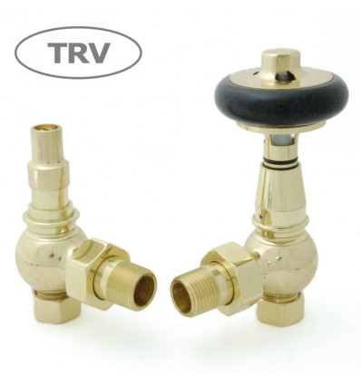 Amberly Angled Thermostatic Radiator Valve (Polished Brass)